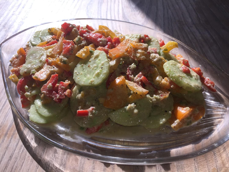 Cucumber & Capsicum Pepper Medley Salad