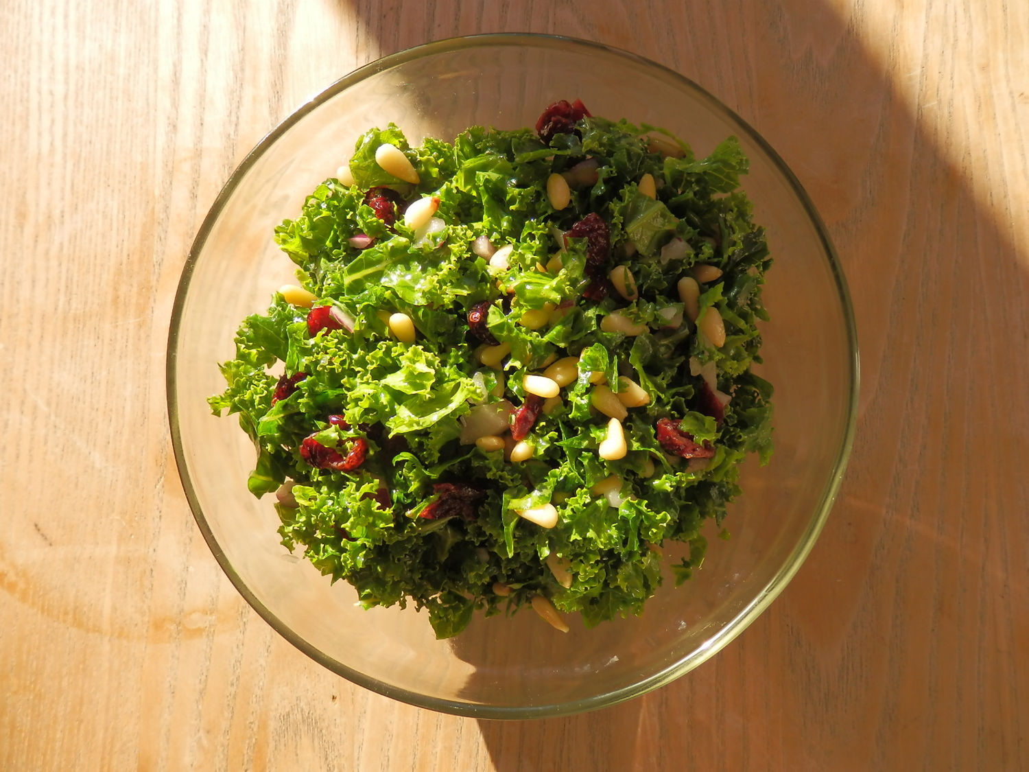 Curly Kale, Cranberry & Pine Nut Salad