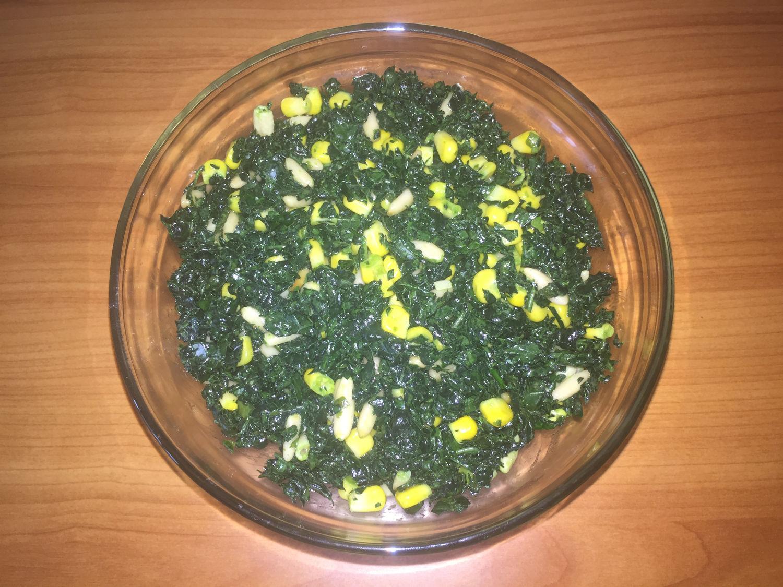 Lacinato Kale, Pine Nut & Corn Salad