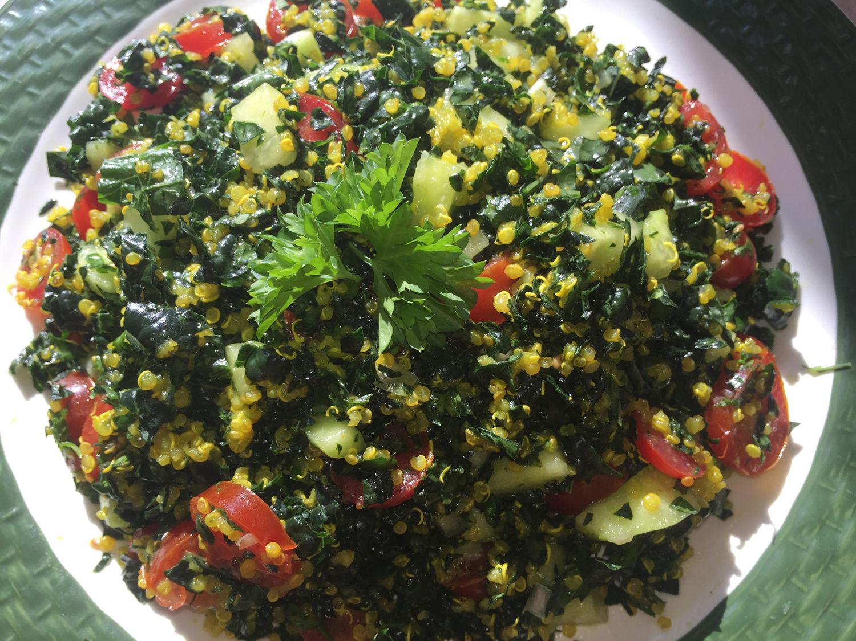Lacinato Kale, Quinoa & Plum Tomato Dish