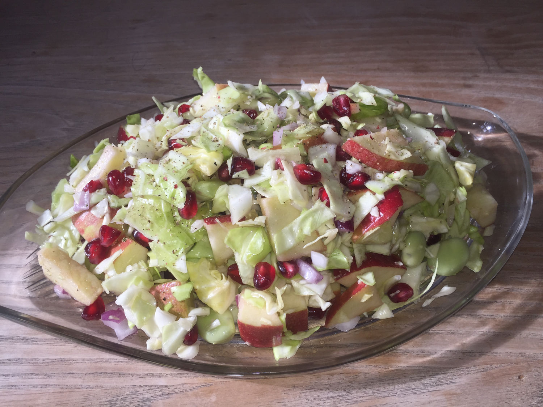 Sweetheart Cabbage, Pomegranate & Fava Bean Salad